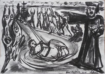 Fanatische Szene - fanatical scene, Kohle/ Papier 21x35