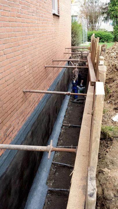Kellerabdichtung mit Verbau und Voranstrich