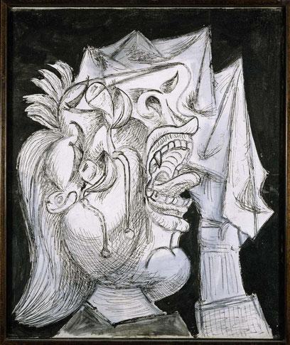 Cabeza de mujer llorando con pañuelo II.Postcripto de Guernica 1937. Òleo lápiz, crayon sobre lienzo.55x46cm.Museo Nacional Centro de Arte Reina Sofía.