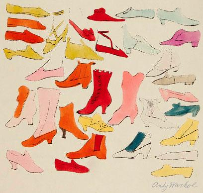 Andy Warhol.Á la recherche du Shoe Perdu, 1955.Cubierta para carpeta.Acuarela sobre papel.50x66cm.Mugrabi Collection.
