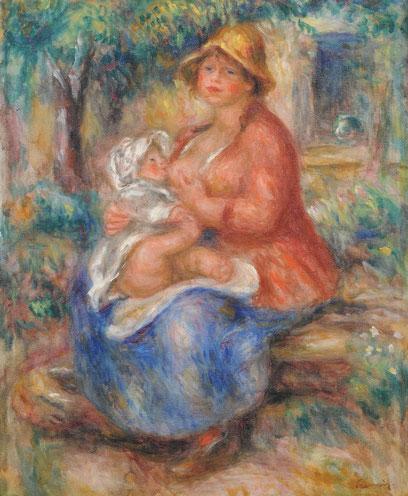 """Aline Renoir amantando a su hijo.1915.Imagen icónica de su madurez,ejecutó 3 pinturas y varios estudios a lápiz.La comparan con una Virgen de la escuela de Colonia.Cuando viajó a Italia decía""""cada mujer que amanta a un niño es una Virgen de Rafael""""."""
