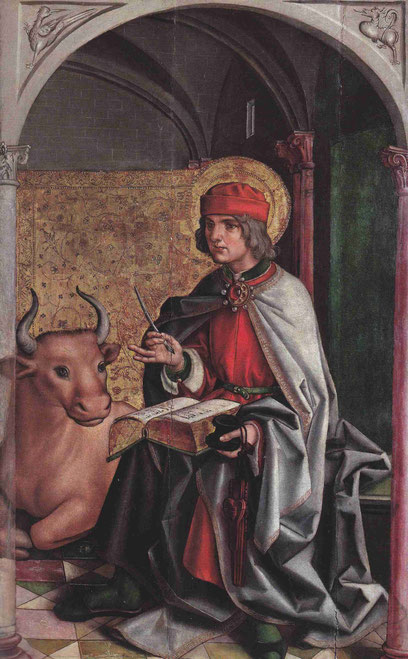 Figura sedente de San Lucas, con el símbolo del toro como animal de sacrificio, hace referencia a la muerte de Cristo. P.Berrugute.Retablo de Paredes de Nava,Palencia.1470-71