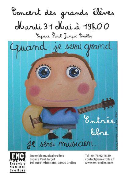 Ecole de musique EMC à Crolles - Grésivaudan : affiche du concert des grands élèves mai 2016