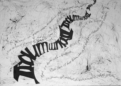 Kalligrafie Acrylbild mit Schrift Traum