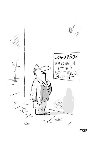 Logopädie Sprache Therapie Karikatur Cartoon