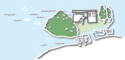 長さ10mほどの橋で陸地とつながる三島は、【玄海海上温泉パレア】の他、二つの神社と三島公園がある仮屋湾に浮かぶ静かな島です。