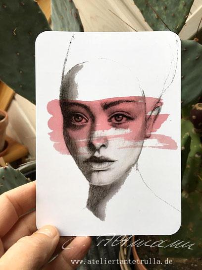 Kunstpostkarte Kohlezeichnung Portrait