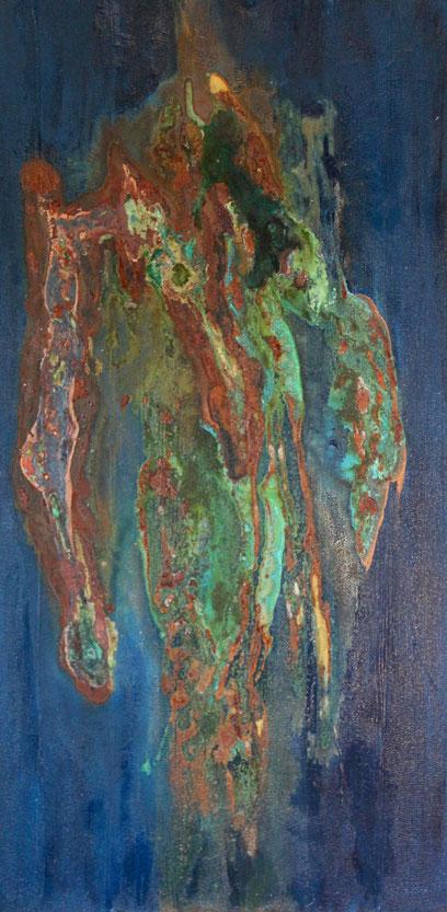 """""""Rusty Man"""", Acryl und Oxidationslösung auf Leinwand, 50x100 cm"""