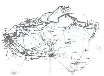 Battaglia del Volturno. Schieramenti contrapposti la sera del 30 settembre 1860 e linee d'azione per la battaglia.
