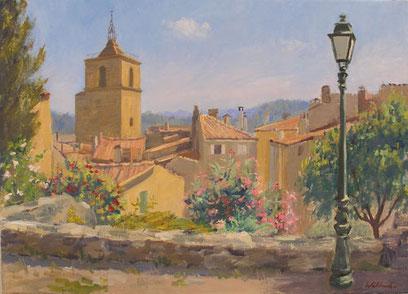 Tony Wahlander (Wåhlander) on apperçoit le haur du clocher de l'église de Barjols, la collégiale, vue du haut du Quartier du Réal, rénové en 1985, avec des fleurs roses, rouges et blancnhes. on apperçoit aussi les toits des maisons.
