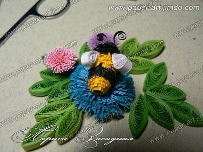 пчелка картины квиллинг бумага цветы