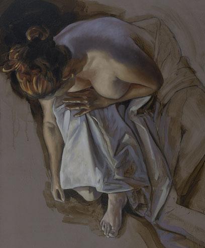 F. Martin©, femme, drapé, peinture contemporaine, Huile sur toile, lumière