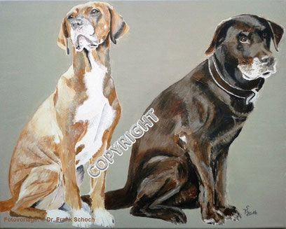 Hundeporträt, Acryl auf Leinwand, 40x50 cm