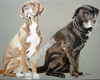Hundeporträts: (Li.) Richback mit weißer Brustblesse sitzend, schaut nach links oben. (Re.) Brauner Labrador sitzend, schaut leicht nach rechts, Tiermalerei, gemalte Tierportraits nach Fotovorlage, Tiere zeichnen lassen