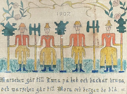 Naive Swedish Bonad, interpretting the song Dalmarsch by Erik Axel Karlfedt, 1907