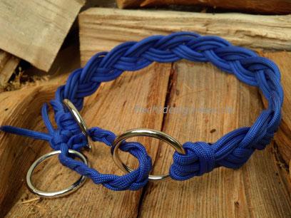 Geflochtenes Zugstopp-Halsband, Royal Blau, Breite ca. 25mm