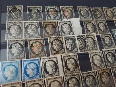 Timbres de France Ceres 1849 20 centimes noirs à la vente