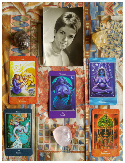 Mythical Goddess Tarot by artist Kathrine Skaggs and author Sage Holloway, published by Star Chalice Sister Publishing, © 2008-2015