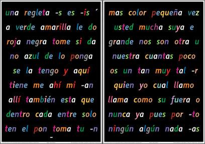Español - las tablas de palabras 1 y 2