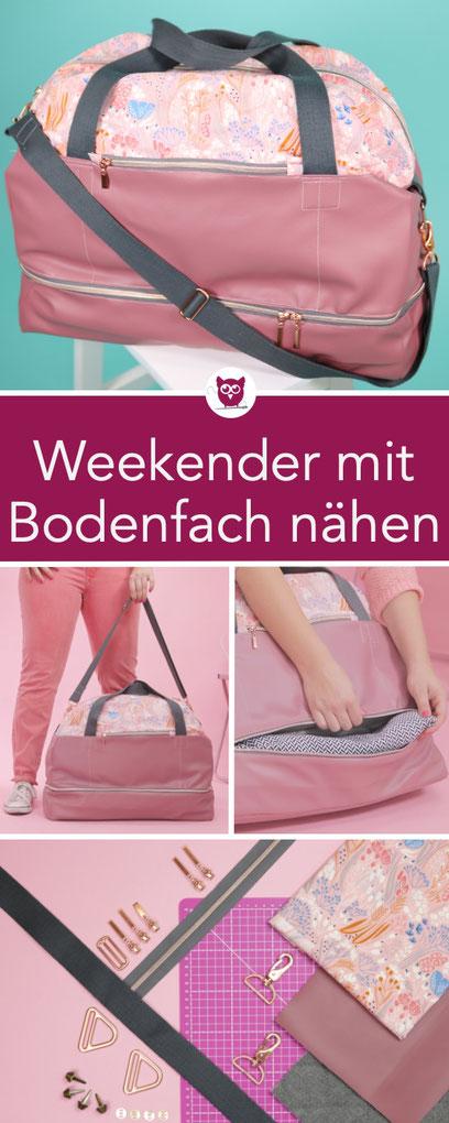 #WeekenderWiebke aus dem #DIYeuleBuch : Weekender mit Bodenfach nähen. Nähanleitung und Schnittmuster für die perfekte Reisetasche passend fürs Handgepäck. Tasche mit Kunstleder und Steppstoff, doppelten Reißverschluss. Nähanleitung von DIY Eule.