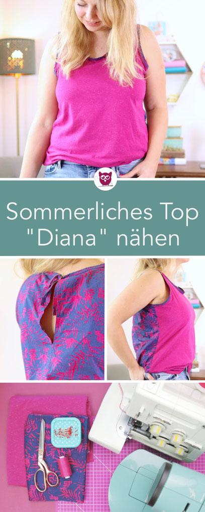 """Sommerliches Top Nähen : Bluse """"Diana"""" aus der neuen Milliblu's Kollektion Sommer Frühjahr 2019. In Pink aus Jersey. Nähanleitung vom Oberteil auch für Anfänger geeignet mit Videoanleitung von DIY Eule."""