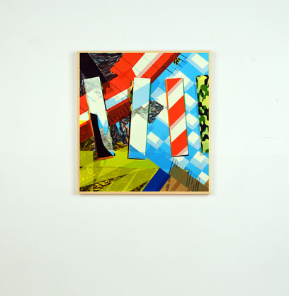 Collage artistique de l'artiste Laurent Valera à base de ruban adhésif coloré.