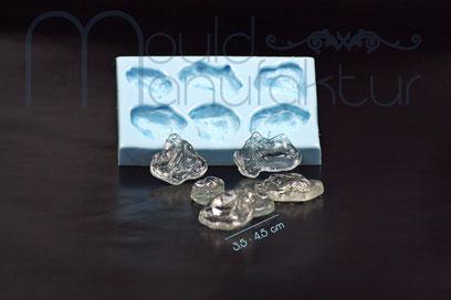 MouldManufaktur Isomalt Zucker Silikon-Einleger Herzen Kugeln Eiskristalle Nudel Quadrate
