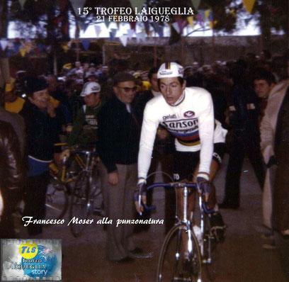 Foto courtesy: archivio AVL, il campione del mondo Francesco Moser alla punzonatura presso Le Palme di Laigueglia.