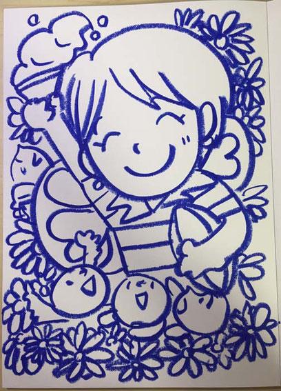 オーダーメイドイラストの線画 ラガーシャツを着た女性 茶谷順子作