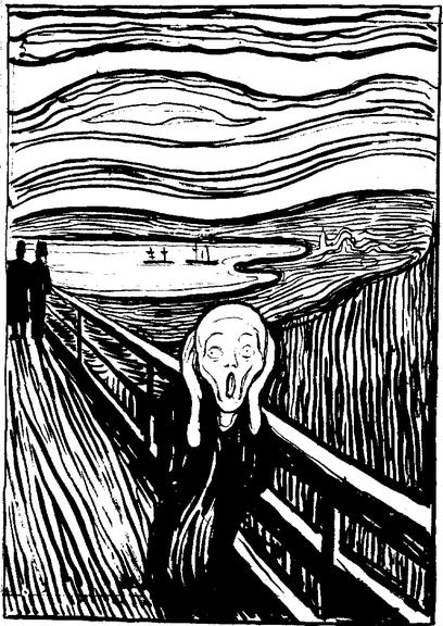 Lápiz litográfico y tinta china (Metropolitan Museum of Art) Obra icónica por eccelencia, con varias versiones a color en la que expresa la angustia existencial, es la incapacidad de una sociedad incapaz de oir.