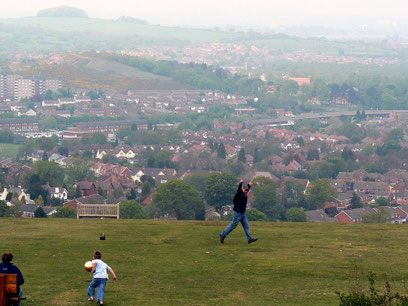 Lickey Hills, Rubery in the mid-ground, Frankley Beeches in the background (left). Photograph by cmdrgravy on flickr, copying permitted under Creative Commons Licence: Attribution-Noncommercial-No Derivative Works 2.0 Generic.