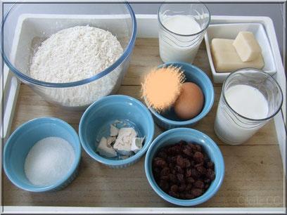 Ingrédients pour la recette de la tarte briochée au lait d'amande et aux raisins secs
