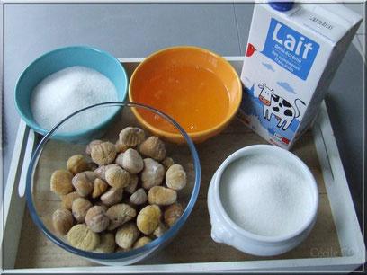 Ingrédients pour gateau torche aux marrons