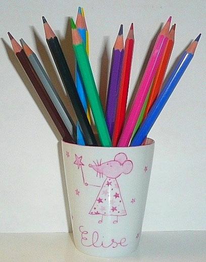 pots crayons personnalis s porcelaine de laetitia. Black Bedroom Furniture Sets. Home Design Ideas