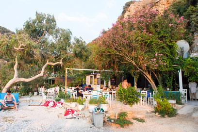 The beach restaurant before sunset