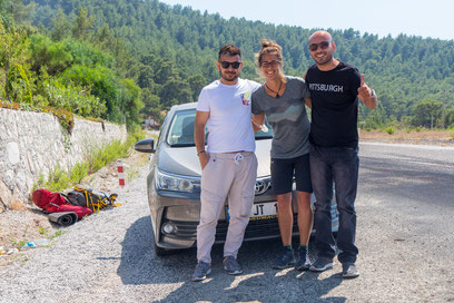 Viviane with Hakan and Ümit at the junction towards Olympos