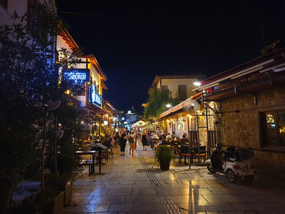 The streets of old town Antalya at night