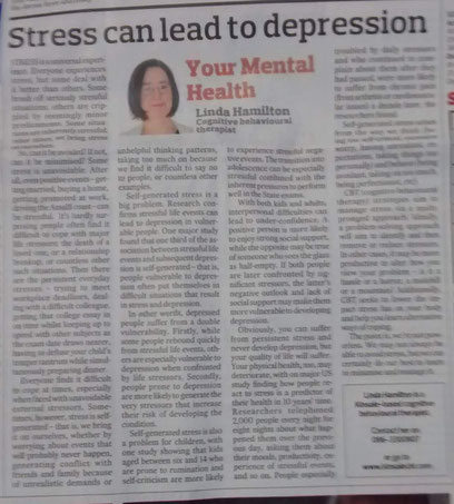 CBT therapist Linda Hamilton's column on stress.
