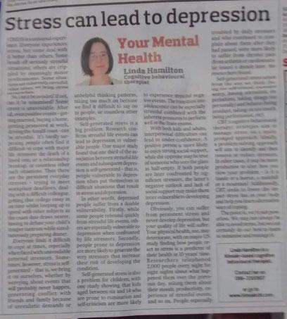 CBT therapist Linda Hamilton's column on stress.