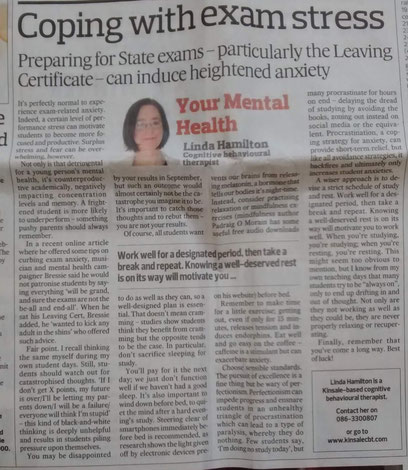 Linda Hamilton's Southern Star column on CBT tips for exam stress.