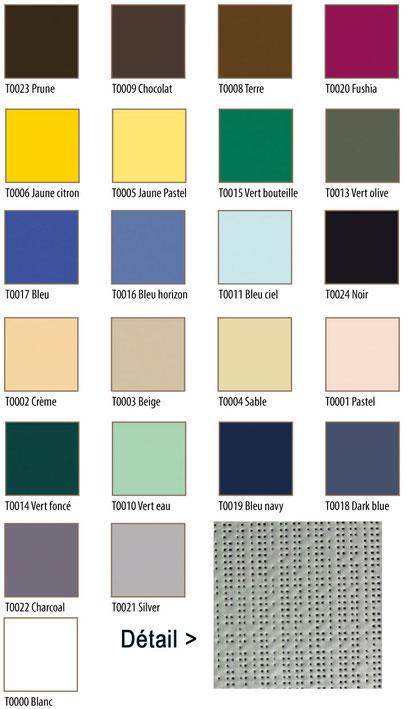 Nuancier de couleurs pour la toile tendue d'ombrage