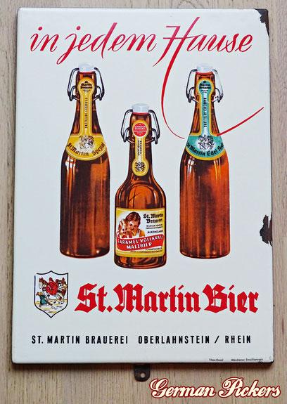 St. Martin Brauerei - Oberlahnstein  Emailschild  Deutschland um 1930  28 x 40 cm