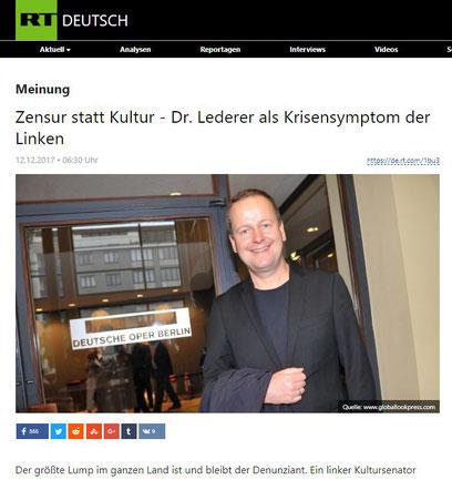 12.12.2017- Zensur statt Kultur - Dr. Lederer als Krisensymptom der Linken