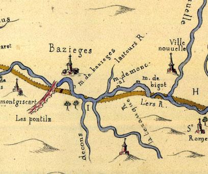 Fig.2 : Baziège sur le plan géométrique du canal royal pour la communication des mers par Garonne et Aude en Languedoc de François Andréossy et Jean Cavalier (1665)