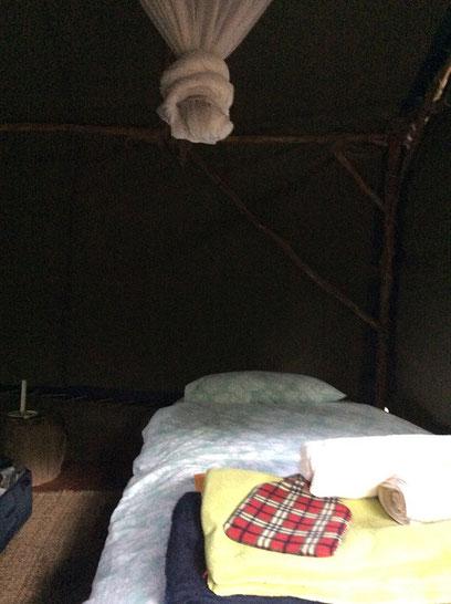 南アフリカ プラットボス フォーレストキャンプのテントの中
