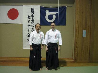 Soke Yasumoto e Sensei Mauro Toso, Hombu Cho per l'Italia