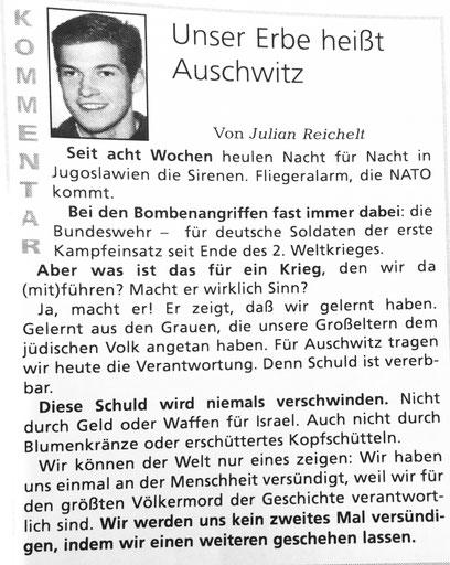 Julian Reichelt als Chefredakteur der Schülerzeitung am Gymnasium Othmarschen