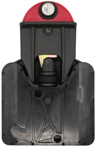 Das SUDHAUS 2301 Mülltonnenschloss. Das Deckeloberteil wird übe den Schließzylinder geöffnet. Das Deckelunterteil rastet sicher in das Tonnenteil ein. Durch ein eingebautes Gewicht im inneren des Tonnenteils, öffnet das Schwerkraftschloss automatisch.