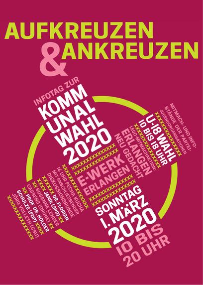 Der Flyer der Veranstaltung Aufkreuzen und Ankreuzen. Sie findet am 01.03.2020 von 10:00 bis 20:00 im E-Werk statt. Gäste sind Dr. Florian Janik (SPD), Jörg Volleth (CSU), Susanne Lender-Cassens (Grüne) und Prof. Dr. Holger Schulze (FDP).