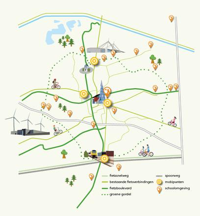 Dirk Van Bun - Grafisch ontwerp - Fiets mobiliteitsplan - Stad lommel - Illustratie
